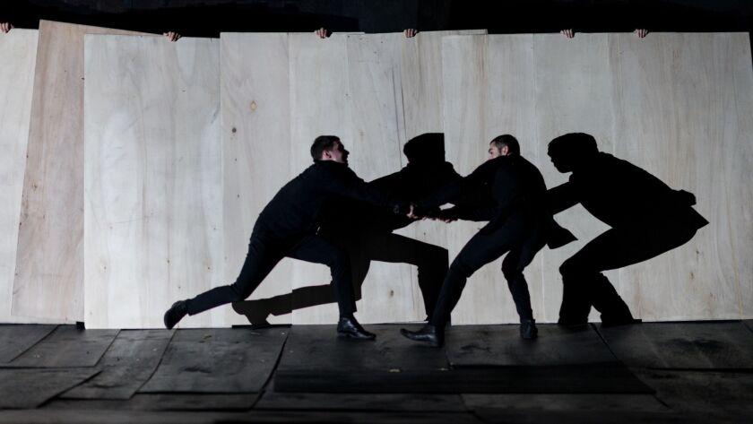 "Costas Chrysafidis, Dimitris Kitsos perform the show ""The Great Tamer"" at Royce Hall."