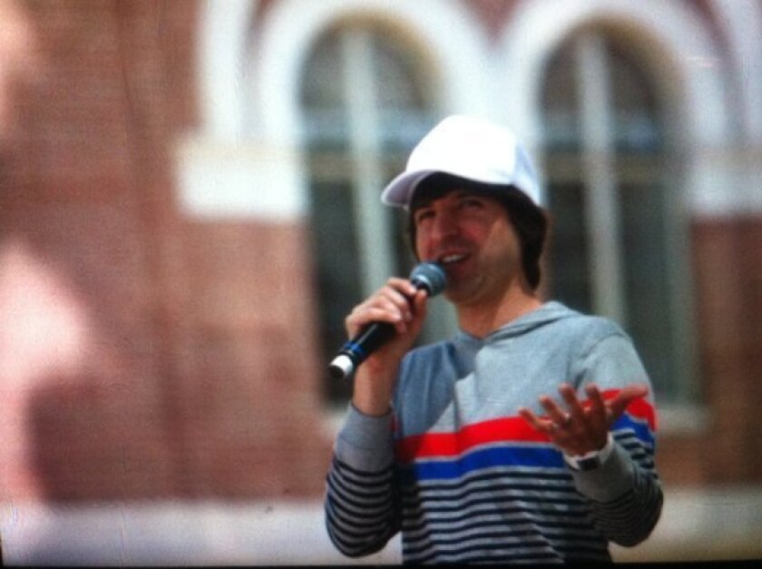 Demetri Martin brought his one-man shtick to the Festival of Books on Sunday.