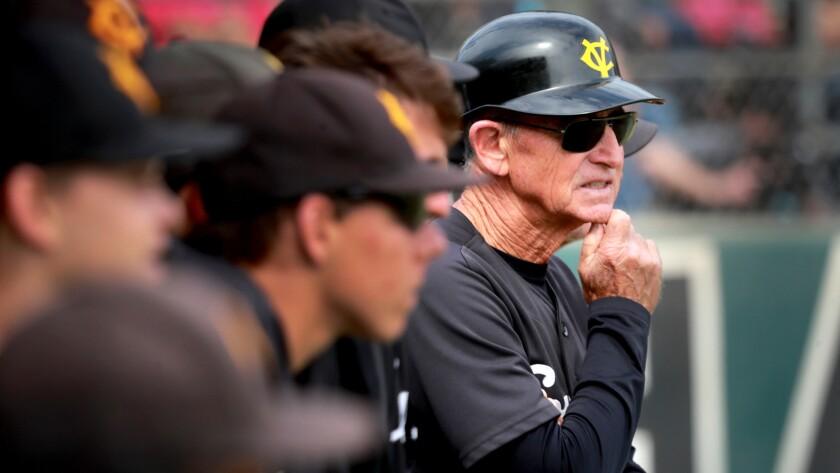 ORANGE, CALIF. -- TUESDAY, MAY 29, 2018: Capistrano Valley coach Bob Zamora watches the action again