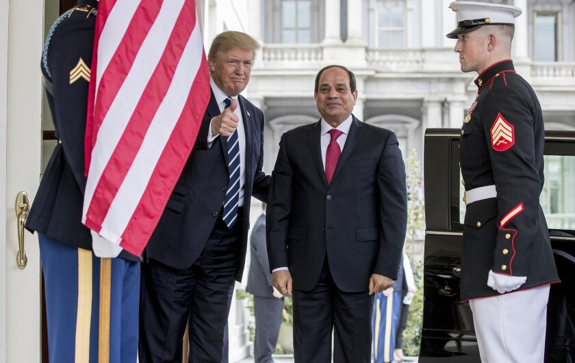 President Trump with Egyptian President Abdel Fattah Sisi at the White House in April 2017.