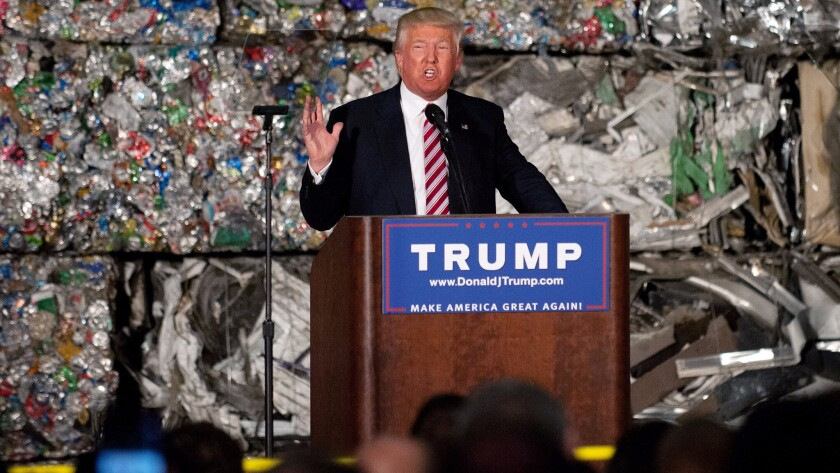 Donald Trump delivers his speech in front of the wall of recyclables that created a stir on Twitter.