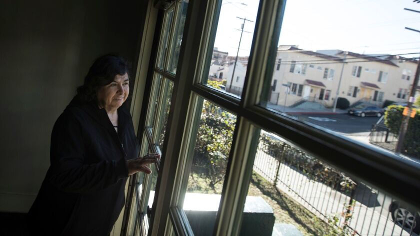 LOS ANGELES, CALIF. -- FRIDAY, FEBRUARY 23, 2018: Burlington Ave. resident Maria Benitez in the fro