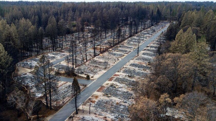 The Camp fire leveled the Ridgewood Mobile Home Park retirement community in Paradise, Calif.