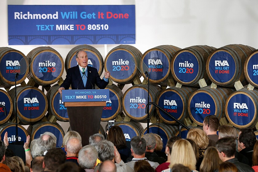 Democratic presidential candidate Michael Bloomberg speaks during a campaign stop in Richmond, Va., on Feb. 15.
