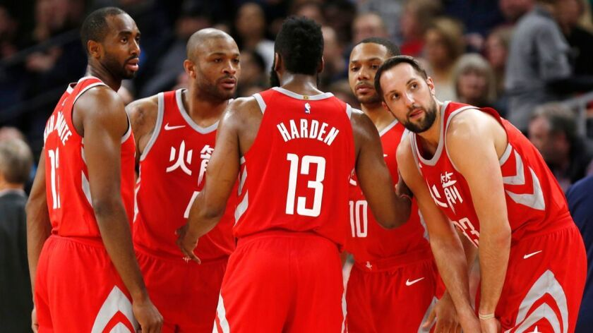James Harden, Luc Mbah a Moute, P.J. Tucker, Eric Gordon, Ryan Anderson