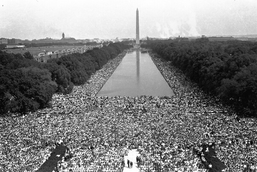 The view from the Lincoln Memorial in August 1963 during the March on Washington.