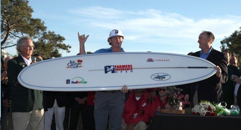 Brandt Snedeker celebrates after winning the Farmers Insurance Open. PGA photo