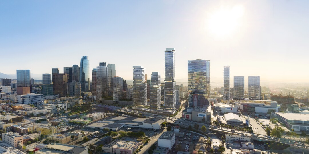 A rendering of the Olympia project in downtown L.A. by SOM