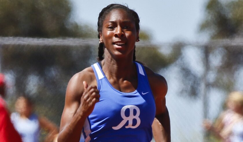 Rancho Bernardo's Jackie Patterson sprints to a first-place finish in the girls 100 meters at the Jaguar Invitational track and field meet at Valley Center High. Her winning time was 11.94 seconds.
