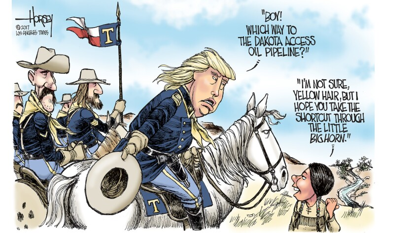 Donald Trump leads the cavalry charge at Standing Rock.