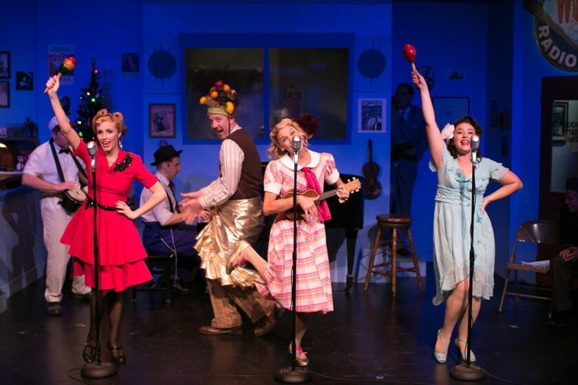 """The company of """"The 1940's Radio Hour"""" in 2019 at New Village Arts theater in Carlsbad."""