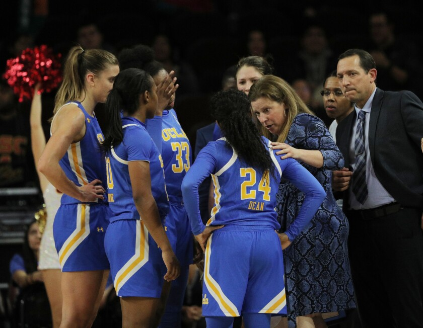 UCLA coach Cori Close talks to her team during a timeout in a game against USC on Jan. 17 at the Galen Center.