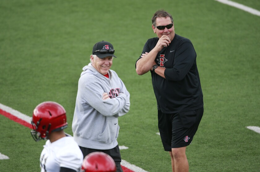 San Diego State football coach Rocky Long, left, and defensive line coach Brady Hoke share a laugh during a spring practice on March 4.
