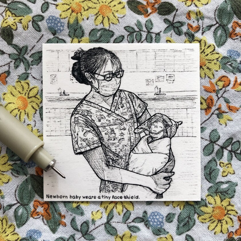 This drawing, titled Baby with Face Shield, was among Nara Lee's 100 pieces of tiny artwork.