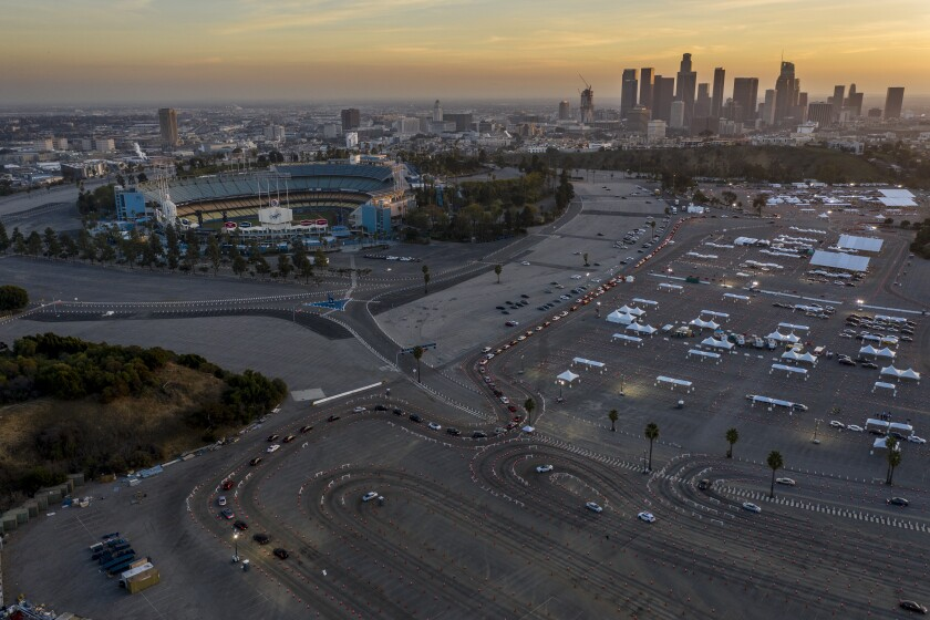 Dodger Stadium and its parking lot.