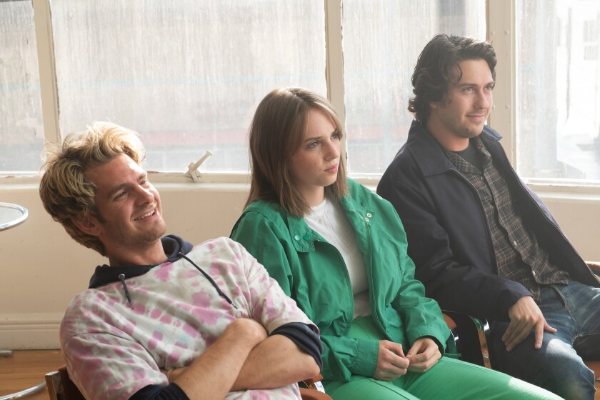 """From left, Andrew Garfield, Maya Hawke and Nat Wolff in Gia Coppola's """"Mainstream."""""""
