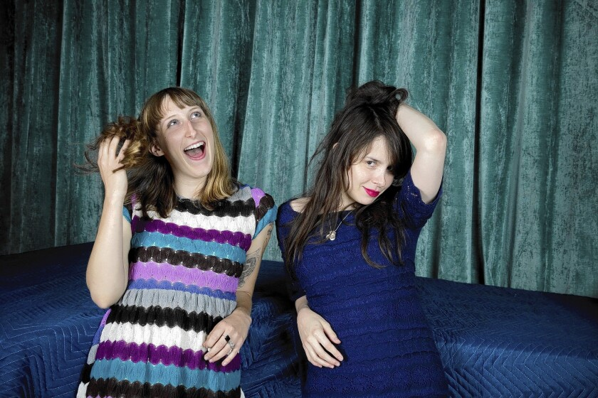 Lia Braswell, left, drummer, and Teresa Suarez, better known by her stage name Teri Gender-Bender, lead singer-guitarist with Le Butcherettes, at the Boat Recording Studio in Los Angeles.