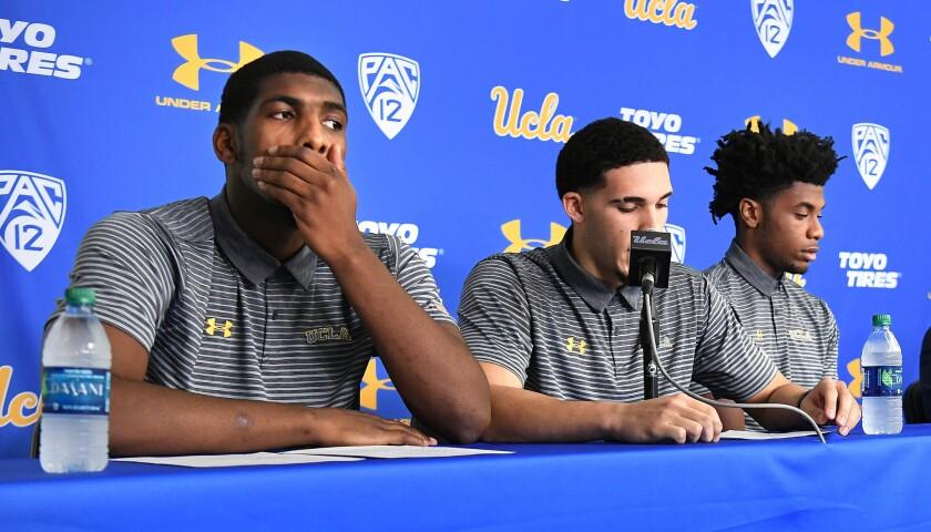 LOS ANGELES, CALIFORNIA NOVEMEBER 15, 2017-UCLA basketball players from left, Cody Riley, LiAngelo B