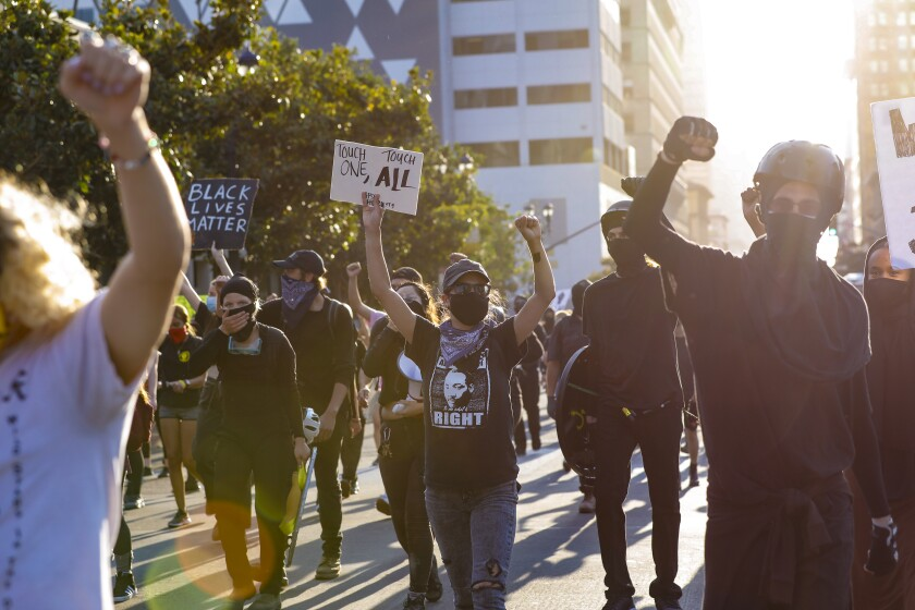Black Lives Matter protestors march Aug. 28 in downtown San Diego.