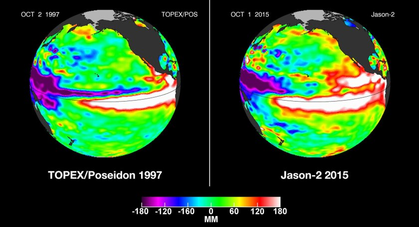 Satellite images comparing Oct. 1, 2015, and Oct. 2, 1997, show large areas of white, which indicate high sea levels -- a reflection of high sea temperatures. The images show how this year's El Nino could be as powerful as the one in 1997, the strongest El Nino on record.