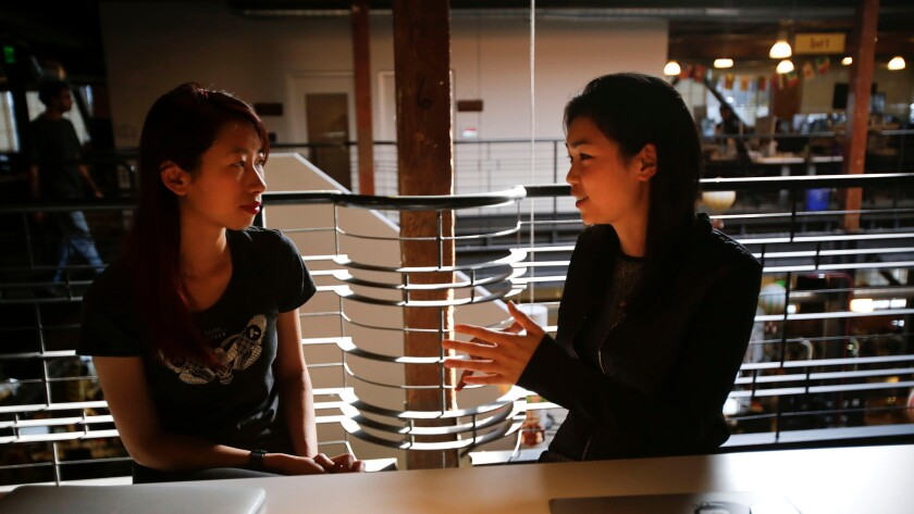 Tracy Chou, right, a former engineer at Pinterest, recently announced she plans to launch a business devoted to improving gender equality in the tech world.