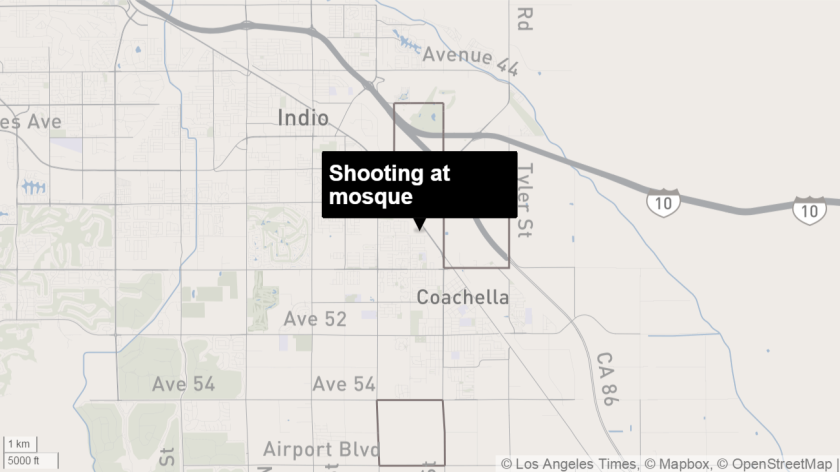 Police are investigating a shooting Tuesday at the Islamic Society of Coachella Valley mosque as a possible hate crime.