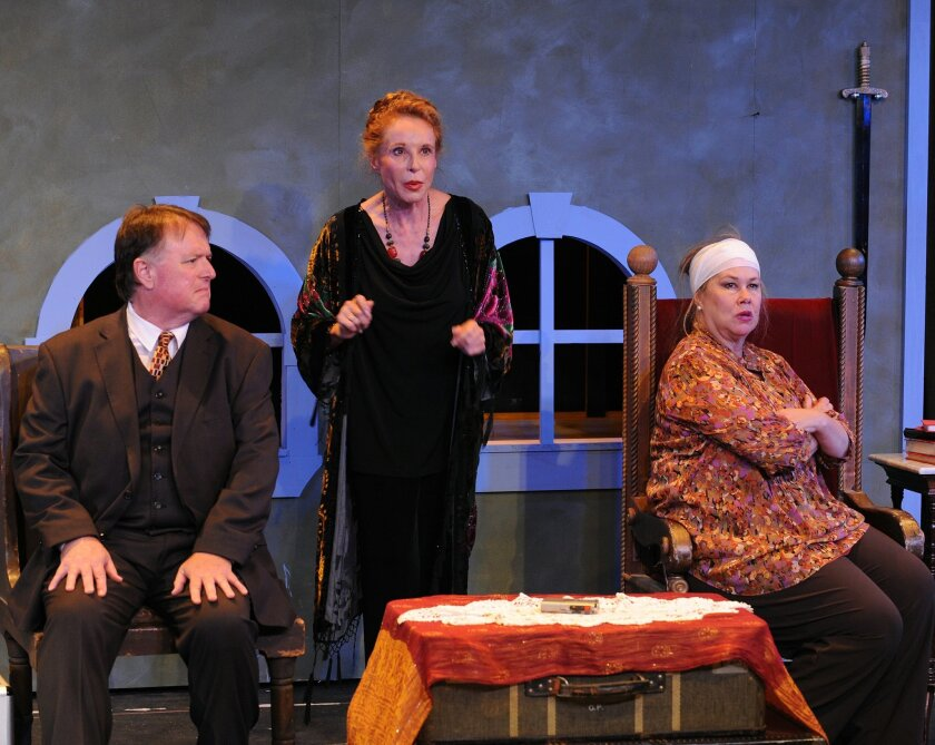 """Tom Stephenson, Jill Drexler and Dana Hooley (left to right) in Scripps Ranch Theatre's """"Lettice and Lovage."""""""
