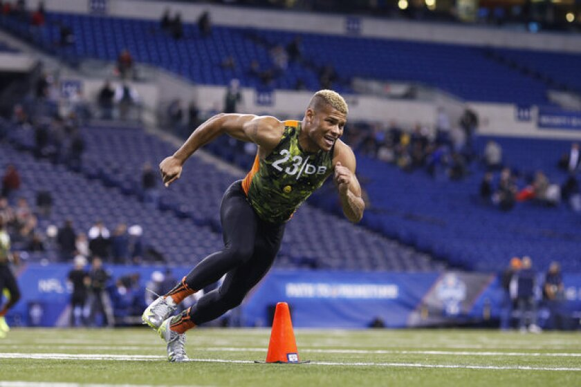 LSU defensive back Tyrann Mathieu goes through a drill at the NFL combine.