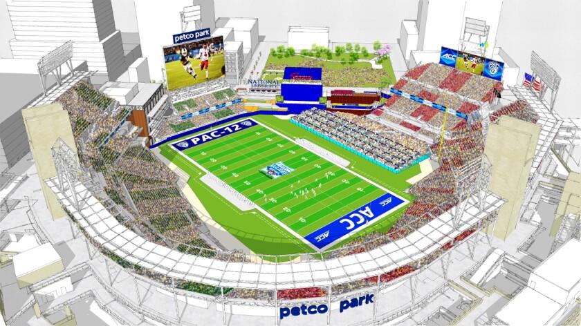 Una representación del campo de futbol para el Holiday Bowl dentro del Petco Park