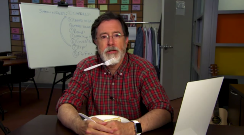 """Stephen Colbert shaves his """"Colbeard"""" in """"Late Show"""" promo."""