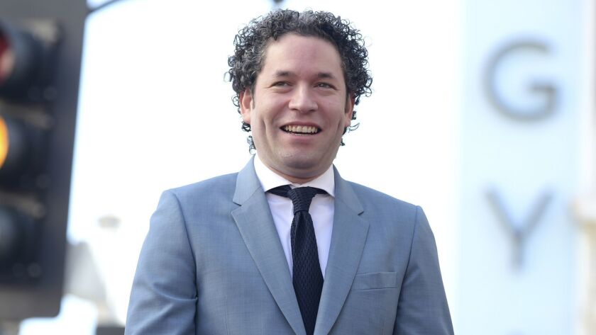 Gustavo Dudamel, music and artistic director of the Los Angeles Philharmonic, at his Hollywood Walk of Fame ceremony on Tuesday.