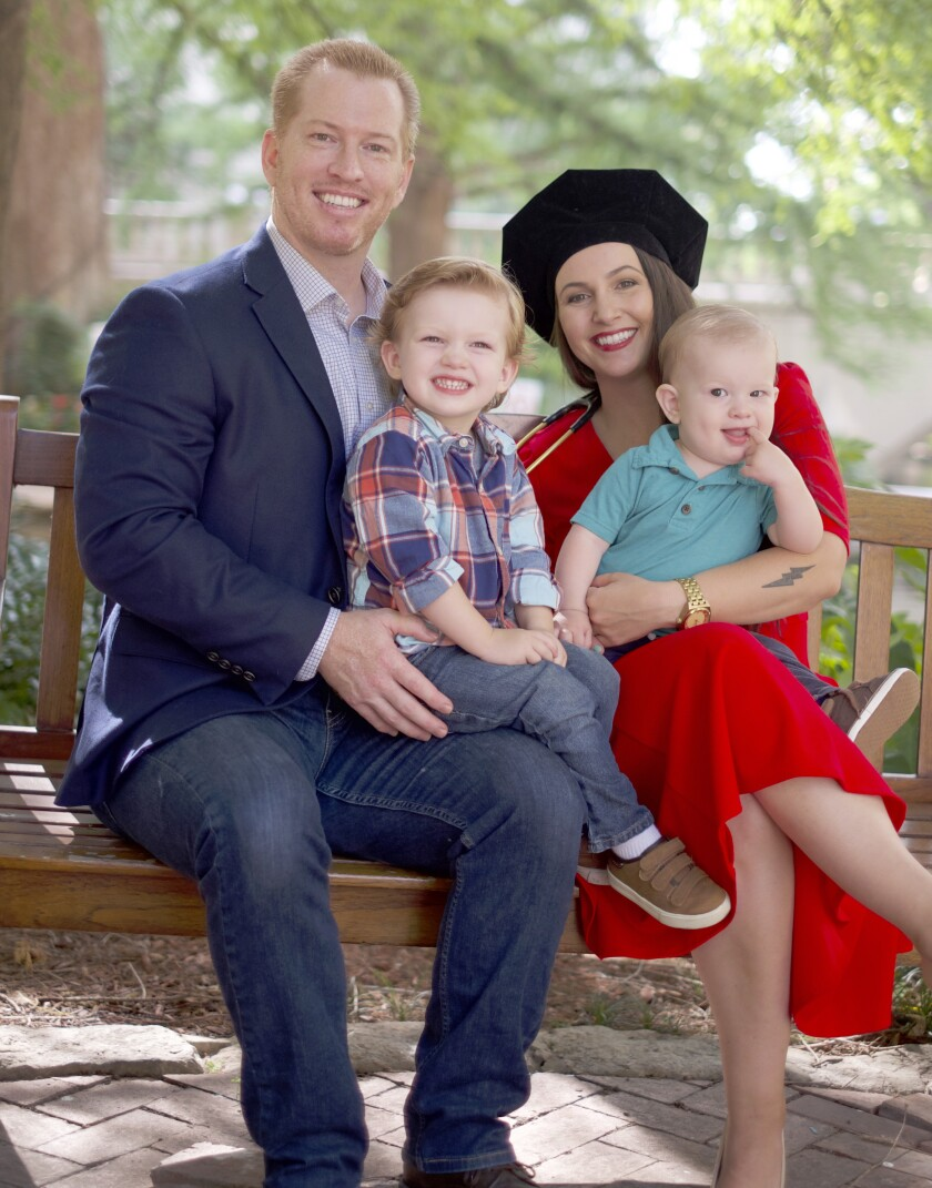 Victoria Arnold feels supported by her family, husband Douglas and sons Oliver, almost 3, and 1-year-old Eli.