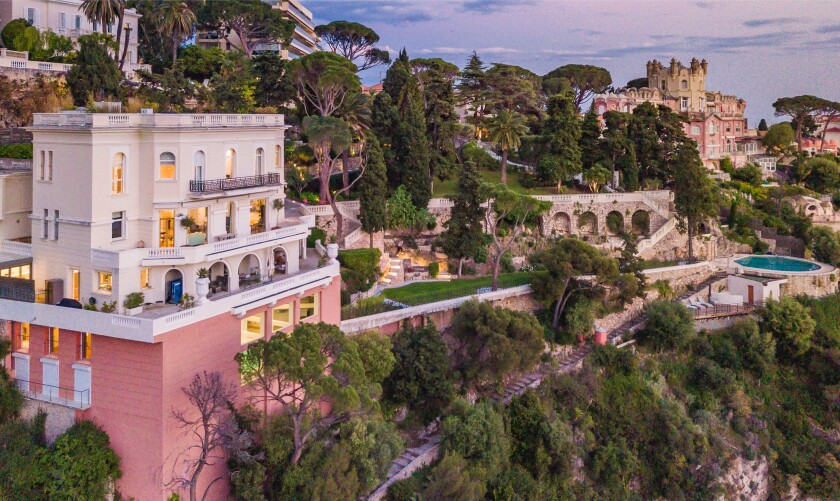 Built in the Belle Époque style, the coastal villa has a six-story mansion, two guest villas and an indoor and outdoor pool.