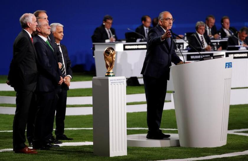 Carlos Cordeiro (R)president of the United States Soccer Federation at the 68th FIFA Congress in Moscow, Russia, 13 June 2018. EPA- EFE FILE/FELIPE TRUEBA