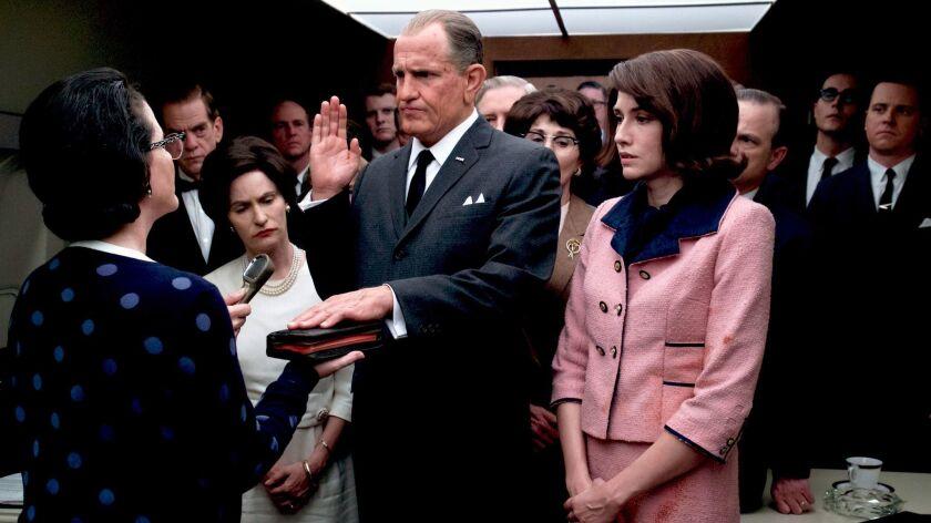 "Jennifer Jason Leigh, Woody Harrelson as 'Lyndon B. Johnson' and Kim Allen in the movie ""LBJ."" Credi"