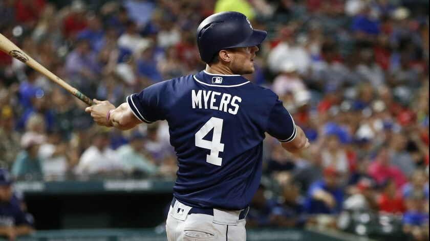 Wil Myers follows through on a single against the Texas Rangers during the fifth inning of Tuesday's game in Arlington, Texas.