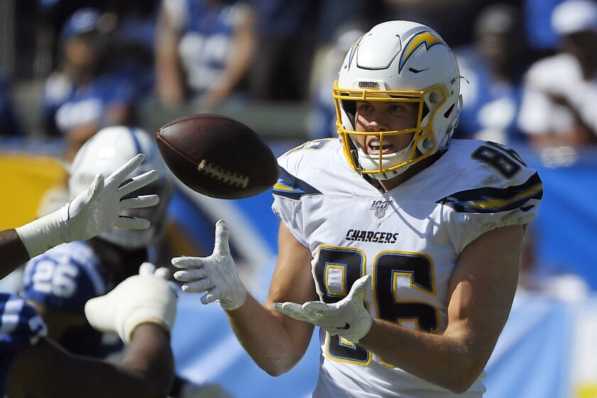 Chargers tight end Hunter Henry makes a catch against the Indianapolis Colts on Sunday.