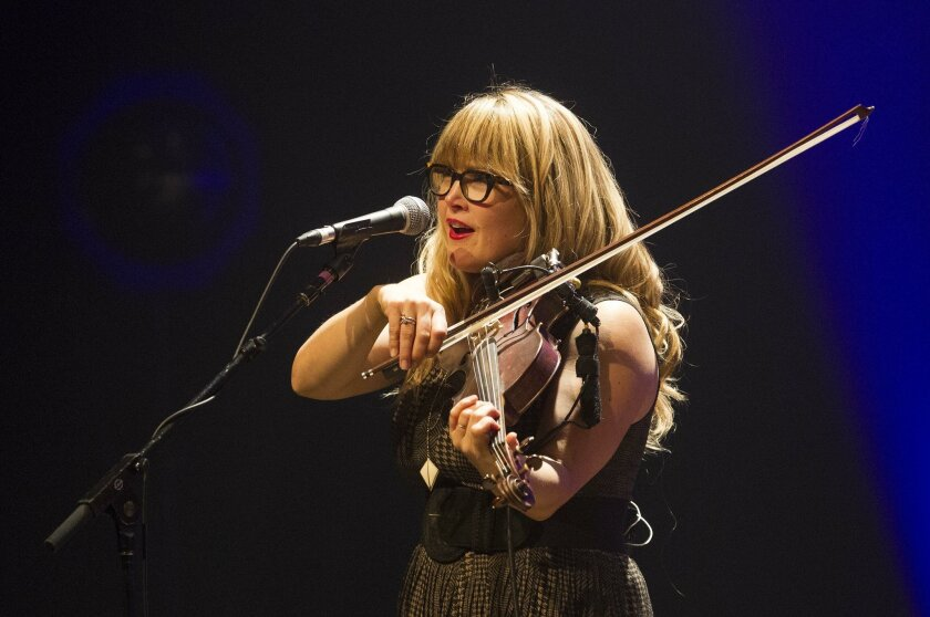 5/20/2014 San Diego, California. Concert review of local band Nickel Creek at the Balboa Theater.| Nickel Creek violinist-singer Sara Watkins, during Tuesday nights performance at the Balboa Theater. | Photo Sean M. Haffey UT San Diego.