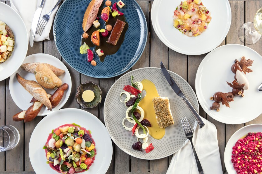 An array of dishes at Knife Pleat