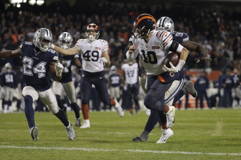 Bears quarterback Mitch Trubisky (10) scores on a 23-yard run during the fourth quarter of a game against the Cowboys on Dec. 5.