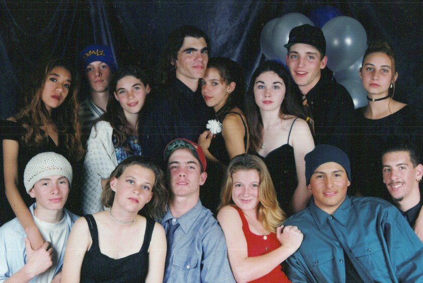 Photo of RMOB members with their dates at a Point Loma High School dance.