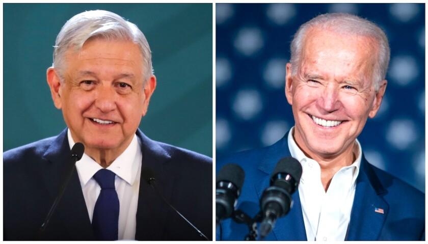 El mandatario mexicano Andrés Manuel López Obrador (i) y el presidente de EEUU, Joe Biden.