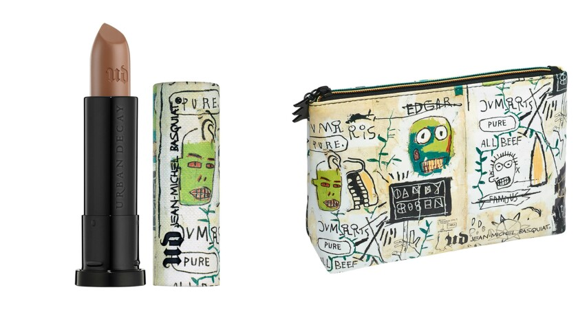 Urban Decay's Jean-Michel Basquiat-inspired lipstick and cosmetics bag are part of a new 12-piece special collection celebrating the New York graffiti artist and painter.