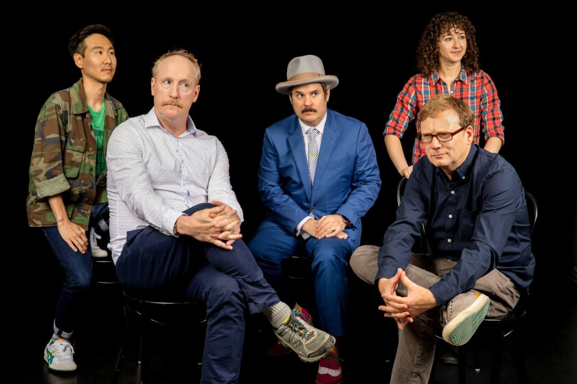 LOS ANGELES, CA--JUNE 19, 2019--Will Choi, Matt Walsh, Paul F. Tompkins, Beth Appel and Andy Daly, a