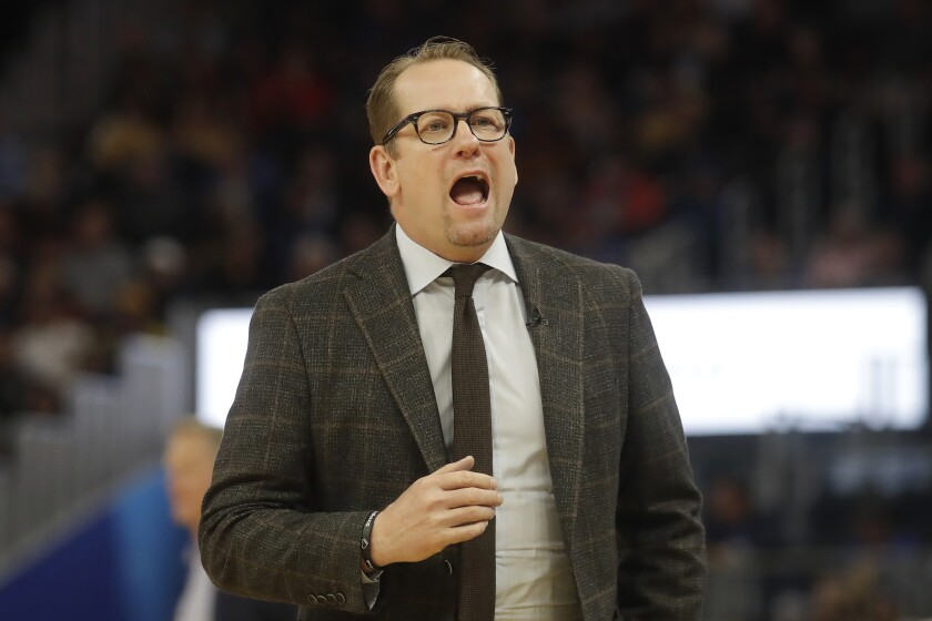 Toronto Raptors head coach Nick Nurse yells toward players during the second half of his team's NBA basketball game against the Golden State Warriors in San Francisco, Thursday, March 5, 2020. (AP Photo/Jeff Chiu)