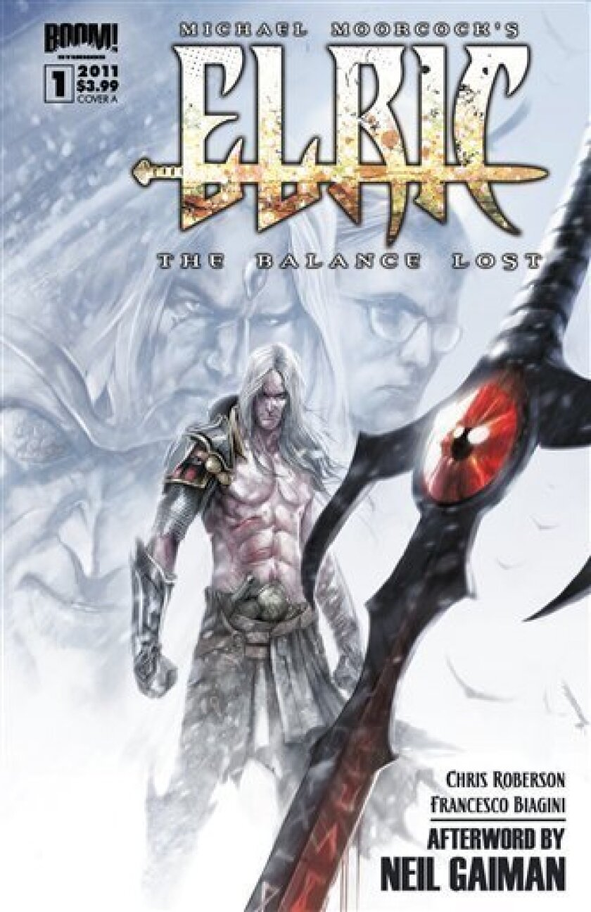 """In this comic book cover image released by BOOM! Studios, the cover of """"Elric: The Balance Lost"""" a new series written by Chris Roberson and drawn by Francesco Biagini, is shown. The series is based on author Michael Moorcock's fan-favorite fantasty hero Elric of Melniboné. (AP Photo/BOOM! Studios)"""