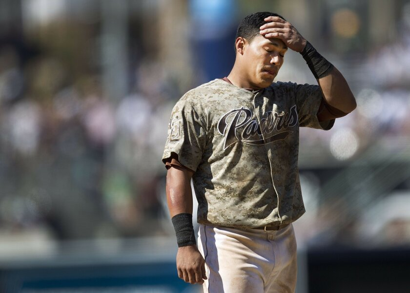Everth Cabrera flied out to left in the 8th inning and shows his frustration.