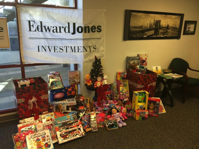 Edward Jones La Jolla is collecting toys for the Boys and Girls Club of San Diego.