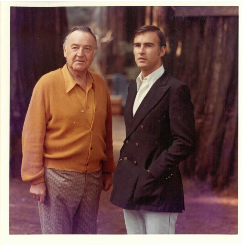 """Image from """"The Browns of California"""" book by Miriam Pawel. Circa 1970s. Father and son shared core"""