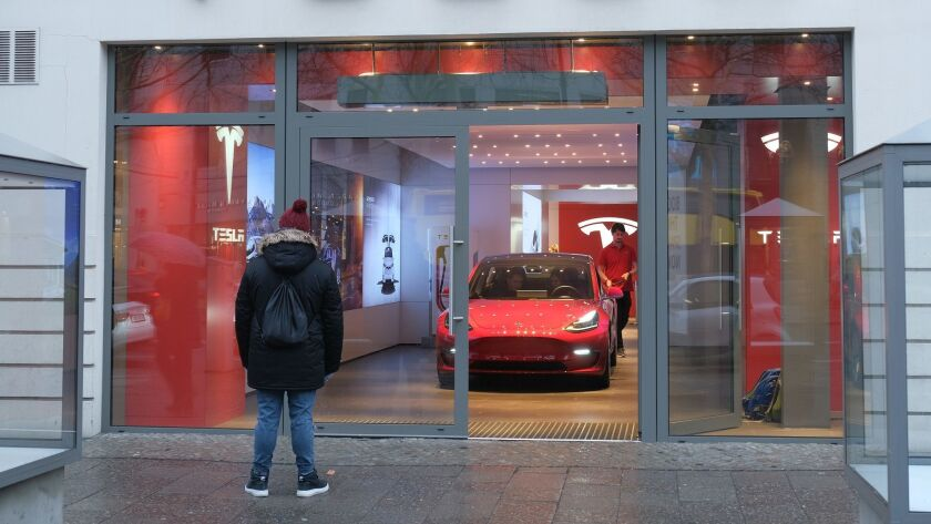 A Model 3 at a Tesla retail store in Berlin. Tesla is hoping Europeans will flock to the Model 3.